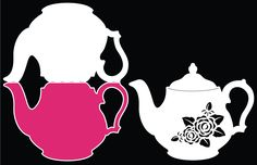 teapot cards   Vintage Teapot Card Digital Cutting File by Bird