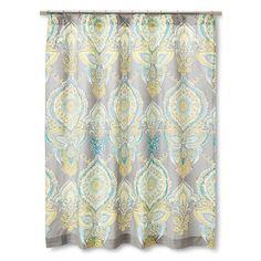 Mudhut�?� Anila Shower Curtain - Gray/Aqua/Yellow