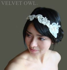 soft Ivory bridal head band and detach mini French by VelvetOwl, $85.00