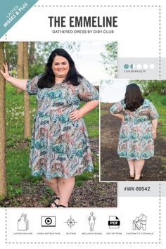 The Emmeline Gathered Dress Is the Perfect Sewing Pattern for Women Who like to Look Good While Feeling Comfortable. Don't Worry, Pockets Are Included! Dress Sewing Patterns, Clothing Patterns, Sewing Ideas, Sewing Dresses For Women, Plus Size Summer, Club, Couture, Fit Flare Dress, Knit Dress