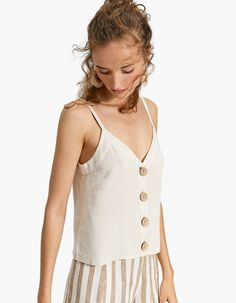 Top with buttons - Tops Camisole Top, Tank Tops, France, Women, Fashion, Buttons, Button Down Shirt, Woman, Chemises