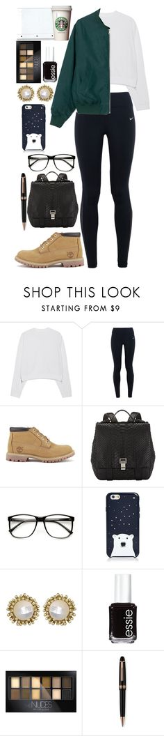"""""""Untitled #1682"""" by ranonette58 ❤ liked on Polyvore featuring Acne Studios, NIKE, Timberland, Proenza Schouler, ZeroUV, Kate Spade, Kendra Scott, Essie, Maybelline and Montblanc"""