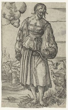 Dwaze maagd met gedoofde olielamp in landschap, Niklaus Manuel Deutsch, 1518