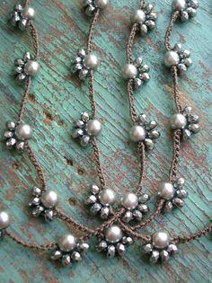 Boho lunga collana - Starlet - boho gioielli argento stratificazione collana, perla collana crochet, avvolgere la collana, gioielli crochet, Boemia