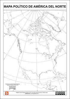 Mapa politico de América del Norte para escolares