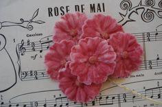 Antique Vintage Rose Pink Molded Velvet by VintageCottageFinds