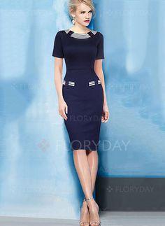 Blue Green Cotton Solid Short Sleeve Knee-Length Dresses (1000323) @ floryday.com