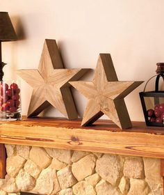 Country Wood Star Handcrafted Look Bold Shelf Side Table Mantel Decor Accent