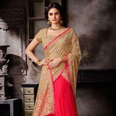 Beige Net Jacquard and Net Lehenga Style Saree with Readymade Blouse