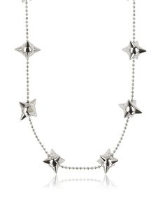 Pierce Me Palladium Plated Metal Spiked Chain Necklace crafted in palladium plated metal, is a playful accessory that adds a punk vibe to any contemporary look. Featuring spiked ball ornaments on a ball-bead chain and magnetic clasp closure. Signature box included. Made in Italy. #Jewelry #fashion #style #women