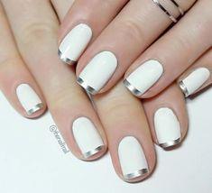 Silver Tip Nails, Gold Nails, White Nails, My Nails, White Manicure, Silver French Manicure, Nail Art Vernis, Nail Manicure, Nail Polish