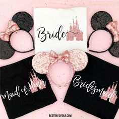 Custom made Disney shirts and ears for the whole family by BestDayEvear Disneyland Bachelorette Party, Bachelorette Party Planning, Bachelorette Weekend, Bachelorette Shirts, Wedding Party Shirts, Gifts For Wedding Party, Wedding Favors, Wedding Invitations, Wedding Rings
