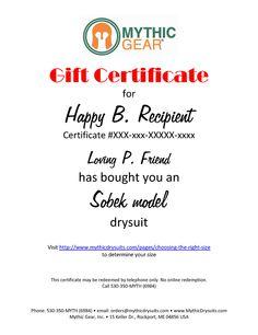 Sobek Drysuit Gift Certificate