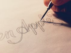 Apple Sketch designed by Sean McCabe. the global community for designers and creative professionals. Handwritten Letters, Calligraphy Letters, Typography Letters, Handwritten Type, Hand Drawn Type, Hand Type, Creative Lettering, Lettering Design, Doodle Lettering