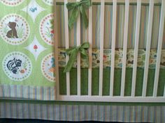 READY TO SHIP Woodland Tails in Greenn Crib by butterbeansboutique, $369.00