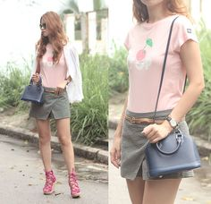 Made In Paradise Cherry On Top Tee, Benetton Skorts, Louis Vuitton Alma Bag, Steve Madden Lace Up Wedges