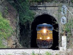 Vance Tunnel, Altapass, NC    CSX 714 sticks its nose into sunlight with a coal train in tow.  South of Spruce Pine, NC