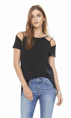 Black One Eleven Strappy Cold Shoulder Tee | Express