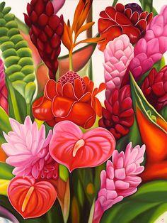 Anna Keay Fine Art - Maui Artist specializing in oil paintings of tropical flowers and bridal bouquets. Tropical Flowers, Motif Tropical, Hawaiian Flowers, Tropical Art, Tropical Paintings, Art Floral, Jungle Art, Hawaiian Art, Caribbean Art