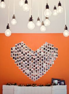 Shape It: If youre putting up a photo collage on your wall, position the pictures to form a shape to spice it up.  Photo courtesy of the image is found