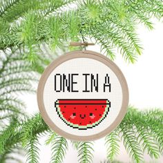 One in a Melon  PDF Cross Stitch Pattern by DJStitches on Etsy
