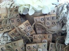 Wedding Favors - Scrabble Coasters! Rustic, Country, Burlap, Wedding.  So cute! And unisex so even the guys will like them!  https://www.etsy.com/listing/185862353/scrabble-coasters-wedding-favors-choose