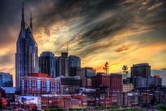 Music City Sunset - The Nashville Tennessee Skyline. via Etsy.