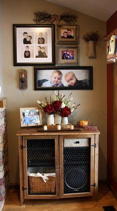 Primitive cabinet, photo wall, primitive decor