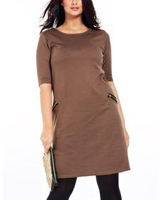 Another great find on #zulily! Taupe Ninon Zipper Pocket Dress - Plus #zulilyfinds