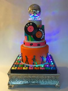 Disco Party Birthday Cake on Cake Central - Shopkins Party Ideas Disco Theme Parties, Disco Party Decorations, Disco Birthday Party, Music Themed Parties, 70s Party, 40th Birthday Cakes, Birthday Parties, Birthday Cookies, Mystery Dinner Party