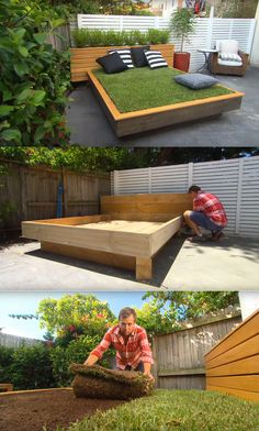 Grass Bed Offers a Cozy Green Oasis Build this sleek and modern grassy daybed for your outdoor living space.Build this sleek and modern grassy daybed for your outdoor living space. Diy Outdoor Furniture, Garden Furniture, Outdoor Decor, Furniture Projects, Diy Furniture, Outdoor Couch, Outdoor Fire, House Furniture, Industrial Furniture