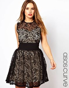 Image 1 of ASOS CURVE Exclusive Skater Dress With Lace And Deep Waistband