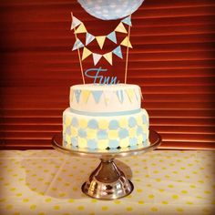 Baby boys Christening cake with bunting
