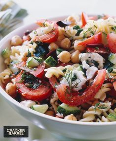 Add some Mediterranean flair to your table in just 20 min with this easy pasta and bean salad topped with CRACKER BARREL Crumbled Feta Cheese. Tap or click photo for this Pasta and Bean Salad with Feta Cheese Salad Recipes Video, Pasta Salad Recipes, Raw Food Recipes, Cooking Recipes, Healthy Recipes, Greek Dinners, Easy Dinners, Salad Topping, Mediterranean Recipes