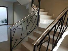 Escaleras Staircase Interior Design, Interior Stair Railing, Modern Stair Railing, Staircase Handrail, Balcony Railing Design, Modern Stairs, House Stairs, Facade House, Home Building Design