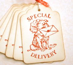 Vintage Valentine Gift Tags Dog Special Delivery by BlossomandTwig, $5.50
