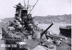 OCT 23 1944 US submarines narrowly miss the battleship Yamato Japanese battleship Yamato under construction at the Kure Naval Base, Japan, September The aircraft carrier Hosho is at the extreme right. The supply ship Mamiya is in the center distance. Imperial Japanese Navy, Imperial Army, Pearl Harbour Attack, Yamato Class Battleship, Japon Tokyo, Leyte, Naval History, Military History, Ww2 History