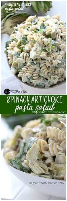 Spinach Artichoke Pasta Salad!  If you like spinach dip, you'll LOVE this delicious pasta salad!  An easy spinach dip turned into a perfect summer side dish!