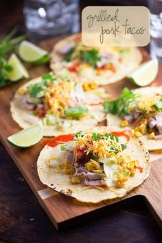 Grilled Pork Tacos - a dinner recipe that's ready in less than 30 minutes on the grill!