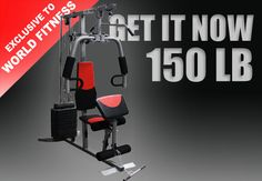 Available Red Color of 150 LBS Multi Station Home Gym   Exercises that can be carried out on this Multi Station #HomeGym include:  • Chest press • Chest flyes • Bicep curls • Tricep pushdown • Lat pull down • Shrugs •  Abs • Approx set up dimension: L 165 x W 105 x H 220 cm • 12 plates 12.5lbs per plate Further more information, visit at http://www.worldfitness.com.au/product_info.php?cPath=239&products_id=1517.