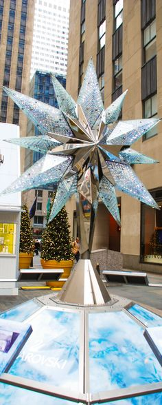The iconic NYC Christmas tree is topped with the Swarovski star topper composed of multiple precision-cut crystals. A replica of the Swarovski star is also on display in the Rockefeller Center, New York City.  Read about 10 more things to do and see in New York City during the winter holiday season!