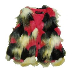 28b14f880 Girls Catimini colourful faux fur gilet with pink cotton lining fastens  across the chest with a hook and eye fastener.