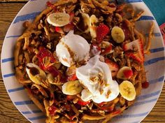 This ultimate indulgence combines a super-crispy funnel cake with banana split toppings. Warning: Sugar highs are inevitable.