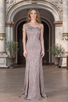 Make it a night for romance in this evening gown by Vero Milano!Fringed garlands of tonal beading adorn the sheer, ballet sleeves, sweetheart lining and a glamorous train is exquisite! Ball Gown Dresses, Sexy Dresses, Girls Dresses, Flower Girl Dresses, Prom Dresses, Luxury Wedding Dress, Luxury Dress, Designer Wedding Dresses, Long Evening Gowns