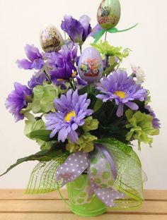 Easter Arrangement in Purple and Green