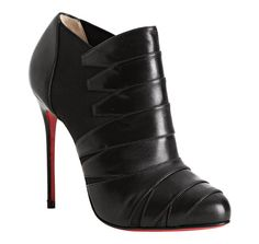 Christian Louboutin     Black leather 'Lina 100' banded ankle booties