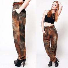 Brown Bohemian High Waist Pants by rumors on Etsy