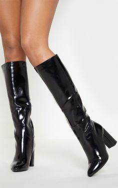 9810439fd93b Black Block Heel Patent Calf Boot