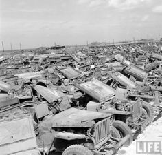 Jeep Graveyard on the Island of Okinawa, Japan, 1949