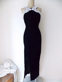 Velvet Dress Size Small Black Lace Cocktail Party Vintage 80s Formal Bodycon #GunneSax